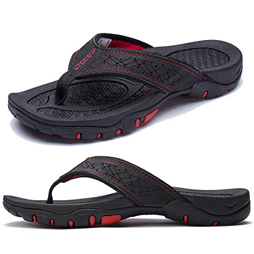 KIIU Flip Flops for Men Beach Sandals Outdoor Comfortable Slippers Black,42