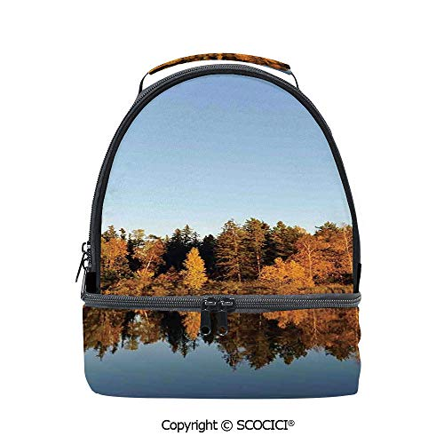 SCOCICI Large Capacity Durable Material Lunch Box Photo of Autumn Forest and Silhouette of the Trees over the Lake Peace Nature Art Multipurpose Adjustable Lunch Bag ()