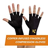 CopperJoint – Copper-Infused Fingerless Compression Gloves, Designed to Support Enhanced Performance, Rapid Recovery and Pain Relief for All Lifestyles, Pair