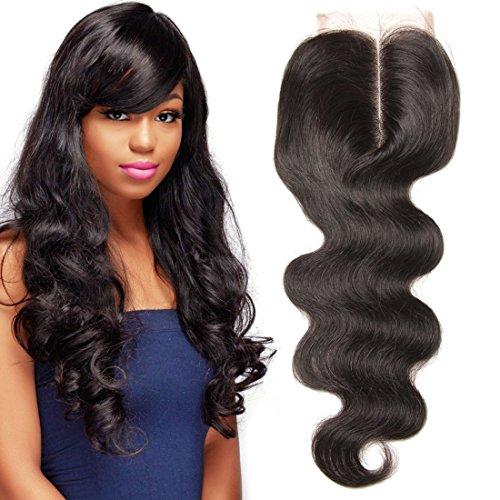 UNICE Hair Brazilian Body Wave Virgin Hair 4x4 Lace Closure Middle Part Natural Black
