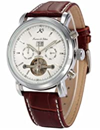 KS Tourbillon Automatic Mechanical Date White Dial Men's Sport Wrist Watch KS004
