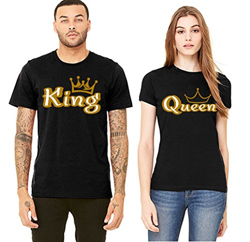 SR Gold King and Queen His HER T-Shirts Couple Matching Short Sleeve Shirts-Black-X-Large-(King Only) ()
