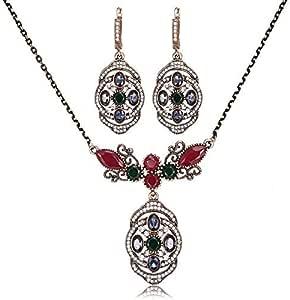 Women Rhinestone Gold Plated Necklace Earrings Wedding Jewelry Set