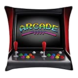 Video Games Throw Pillow Cushion Cover, Arcade Machine Retro Gaming Fun Joystick Buttons Vintage 80's 90's Electronic, Decorative Square Accent Pillow Case, Multicolor