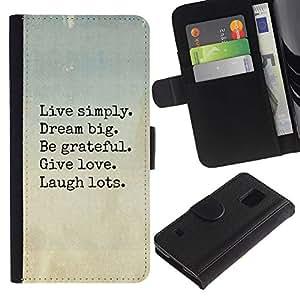 Paccase / Billetera de Cuero Caso del tirón Titular de la tarjeta Carcasa Funda para - live dream love laugh motivational - Samsung Galaxy S5 V SM-G900