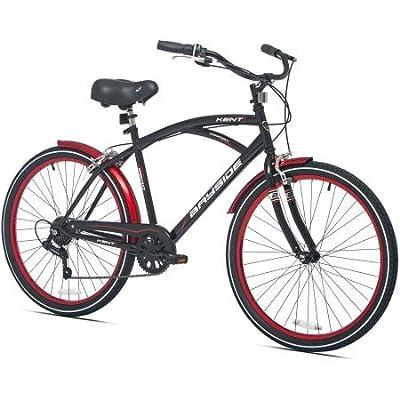 "Kent 52672 26"" Shimano 7-Speed Men's Kent Bayside Cruiser Bike, Black/Red Color"