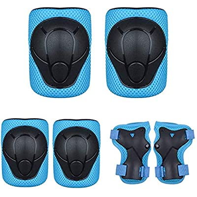 H HUKOER 3 Pairs Kids Protective Gear Set, 3-9 Years Toddler Kids Children Knee Elbow Pads Wrist Guards, Roller Skating Cycling Scootering Riding Sports Full Protect Set (Blue) : Sports & Outdoors