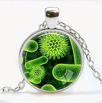 Collar con colgante de Virus, diseño de virología, microbiología, regalo de ciencia, vista microscópica de un virus: Amazon.es: Hogar