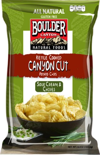 Salsa Cream Cheese (Boulder Canyon Kettle Cooked Potato Chips, Sour Cream & Chives, 6.5 Ounce (Pack of 12))