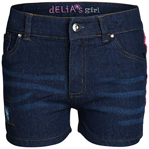 dELiAs Girls Stretch Denim Shorts, Blue with Pink Sequins, Size 6' ()