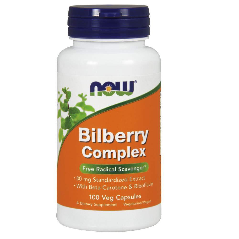 NOW Bilberry Complex with Beta Carotene,100 Veg Capsules