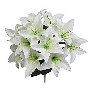 Admired By Nature Artificial Full Blooming Tiger Lily with Greenery for Home, Wedding, Restaurant & Office Decoration Arrangement, 14 Stems 62