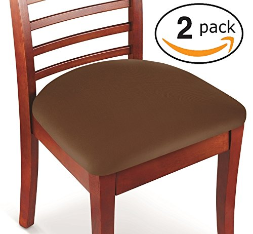 Hoovy Seat Covers Pack of 2 Protective & Stretchable - for Round & Square Chairs (Brown)
