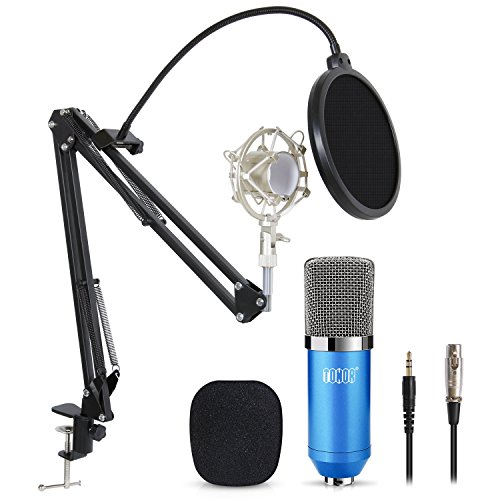 TONOR Professional Studio Condenser Microphone Computer PC Microphone Kit with 3.5mm XLR/Pop Filter/Scissor Arm Stand/Shock Mount for Professional Studio Recording Podcasting Broadcasting, Blue -