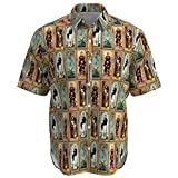 EightyThree XYZ Haunted Mansion Stretch Paintings Disney Inspired Men Short Sleeve Button Shirt Size - L Brown