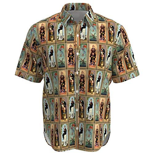- EightyThree XYZ Haunted Mansion Stretch Paintings Disney Inspired Men Short Sleeve Button Shirt Size - L Brown