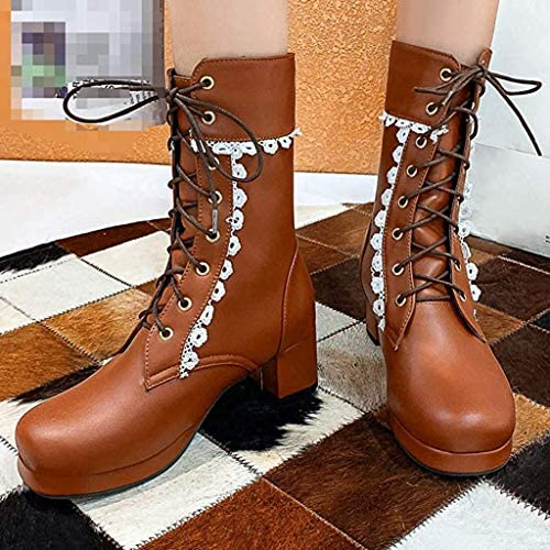 XIALIUXIA Plateau Stiefeletten High Heels Ankle Boots, Blockabsatz Damen Schnürstiefeletten Cosplay Schuhe,A,48