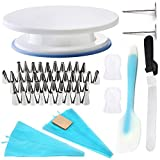 Cake Decorating Kit - w/ 14 Inch Angled Icing -Blade 8''- (1) + Turn Table 11'' (1) + Stainless Steel Icing Tips (42) + Pastry Frosting Bags w/ Couplers (2) + Silicone Frosting Spatula (1)