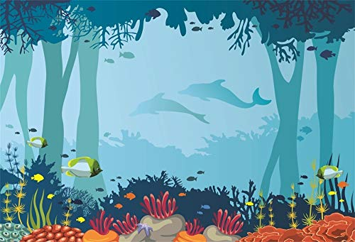 Deep Ocean Shadow - AOFOTO 5x3ft Polyester Cartoon Underwater Coral Reef Backdrop Seabed Marine Life Ocean Fishes Shark Shadows Background for Photography Kids Baby Birthday Party Decor No Wrinkle Photo Studio Props
