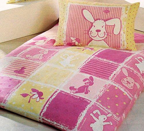 Baby Kinder Biber Winter Bettwäsche 100 x 135 + 40x60 cm, rose Hase, 100% Baumwolle, für Kinderbett