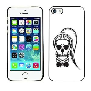 Ihec Tech / Cráneo Cola de caballo Funny Girl Muerte Blanca / Funda Case back Cover guard / for iPhone 5 / 5S
