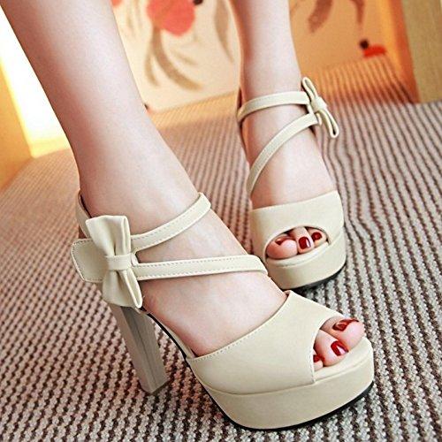COOLCEPT Mujer Moda Al Tobillo Sandalias Peep Toe Tacon Ancho Plataforma Velcro Zapatos With bowknot Beige
