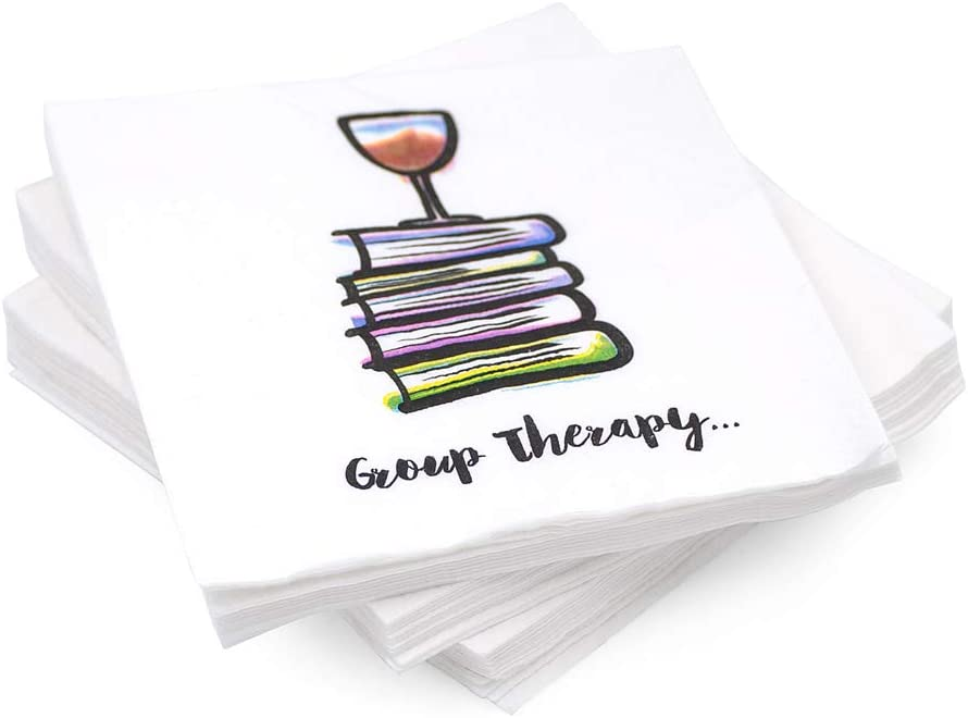 """30 Pk, """"Group Therapy"""" Cocktail 3-Ply Paper Party Napkins for Book Club, Wine Night, Womens Group or Girls Night Quarantinis"""