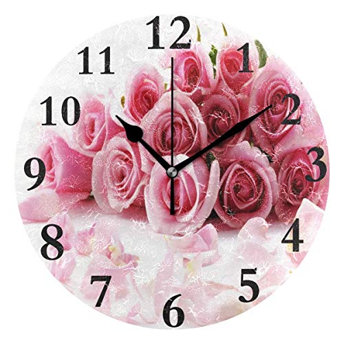 Dozili Valentine's Day Pink Rose Round Wall Clock Arabic Numerals Design Non Ticking Wall Clock Large for Bedrooms,Living Room,Bathroom (Design Pbteen Room)