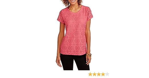 b4940bdf44d Amazon.com: Faded Glory Women's Short Sleeve Lace Front T-Shirt (Medium,  Melon): Clothing