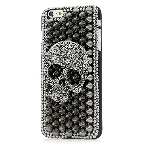 iPhone 6 Plus Case,iPhone 6S Plus Case (5.5), Mavis's Diary 3D Handmade Cool Flower Skull with Special Pyramid Studs Spikes Rivets Punk Style Design …