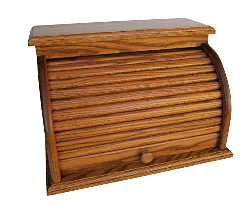 Roll Top Bread Box Amish Handcrafted Storage Oak Bin Wooden (Chestnut)