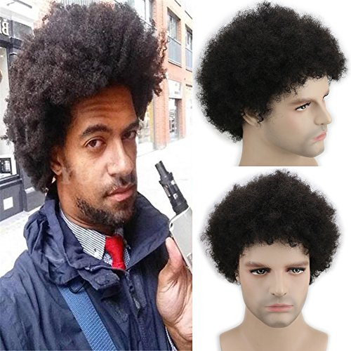 Dreambeauty Short Afro Kinky Curly Human Hair Wigs 100% Brazilian Remy Human Hair Short Kinky Curly None Lace Full Wig for Men (Black)