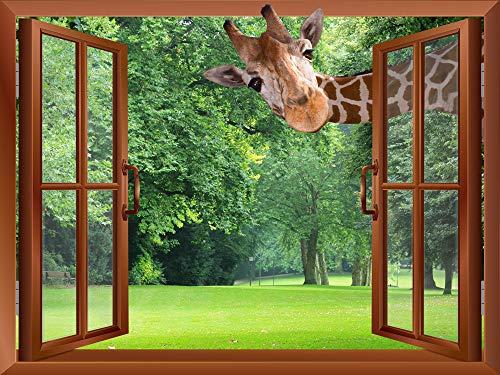 A Giraffe Sticking its head into an Open Window Removable Wall Sticker Wall Mural