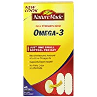 Nature Made Super Omega-3 Fish Oil Full Strength Softgels, Mini, 60 Count (2 Pack)