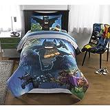 5 Piece Full Size Lego Batman Bedding Set Includes 4pc Full Sheet Set And T/Full Comforter