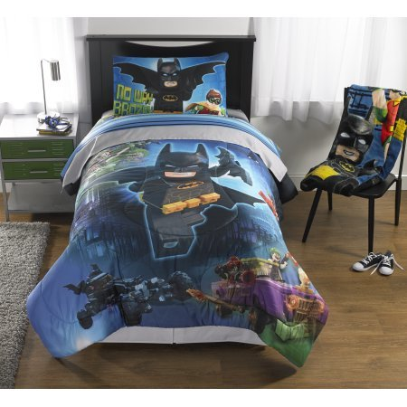 5 Piece Full Size Lego Batman Bedding Set Includes 4pc Full Sheet Set And T/Full Comforter