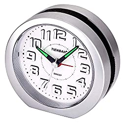 Silent No-Ticking Travel Analog Alarm Clock,3D Number Display Simple Battery Operated Bedside Table Clock Snooze and Light Functions Morning Clock for Kids Men Women Home Bedroom Office Clock(Silver)