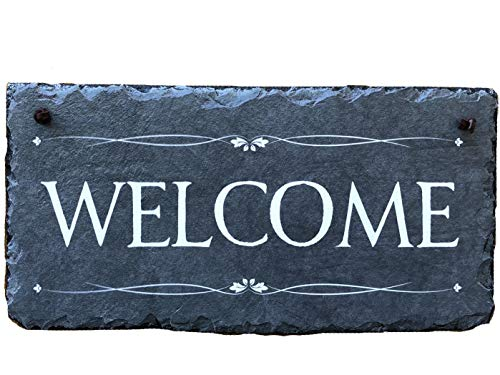 - Sassy Squirrel Beautifully Handcrafted Slate Home Welcome Plaque (12