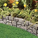 Gardeneer Stonewall Faux Stone Border Edges, Grey, Pack of 4