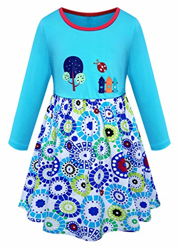 Little Girls Cartoon Printed Pure Cotton Casual Fall Floral Blue Dress Size 6