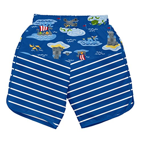 i play. Boys' Board Shorts with Built-in Reusable Absorbent Swim Diaper, Royal Viking Sea, 18mo