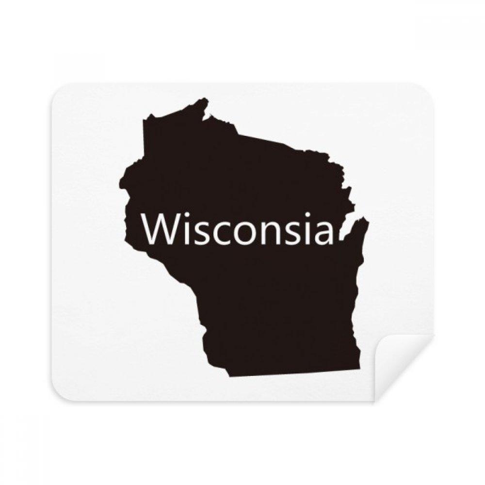 ウィスコンシン州アメリカUSAマップシルエット電話画面クリーナーメガネクリーニングクロス2pcsスエードファブリック   B07CCN1BGN