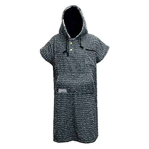 Open Road Goods Surf Poncho/Adult Hooded Towel/Changing Towel/Wetsuit Changing Robe/Swim Parka - Changing Poncho Charcoal Black/Indigo Blue; Saves a Sea Turtle's Life - Black