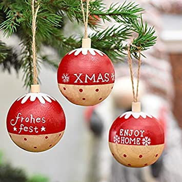 Victor S Workshop 3 Set Tags En Bois Decorations De Noel Pendentifs