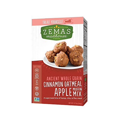 Zemas Madhouse Foods Best Cinnamon Oatmeal, Gluten Free Apple Muffin Mix, Gluten Free, Makes 24 Great Mini Muffins