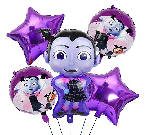 Vampirina Birthday Party Balloon Set - 6 Piece Kids Balloon Decorations - Girls Disney Theme Party Balloons - Vampire Girl Vee Hauntley - Ribbon Included Combined Brands Bundle by Jolly Jon ® -