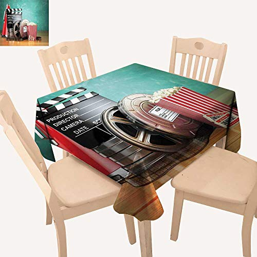 (haommhome Movie Theater Tassel Tablecloth Production Theme 3D Film Reels Clapperboard Tickets Popcorn and Megaphone Non Slip Tablecloth W 54