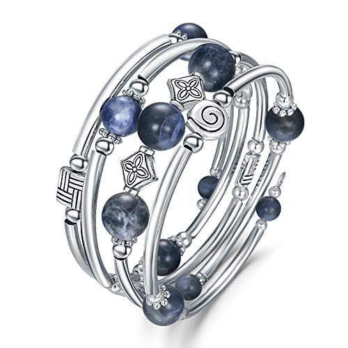a Roce Wrap Bracelets - Natural Blue Agate Stone Handmade Friendship Wrap Bngle for Women ()