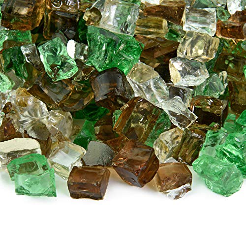 Prairie Gold - Fire Glass Blend for Indoor and Outdoor Fire Pits or Fireplaces | 10 Pounds | 1/2 Inch, Reflective