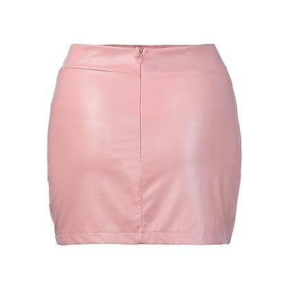 Faldas, Challeng Mujeres Sexy vendaje cuero cintura alta lápiz Bodycon Hip corto Mini falda (